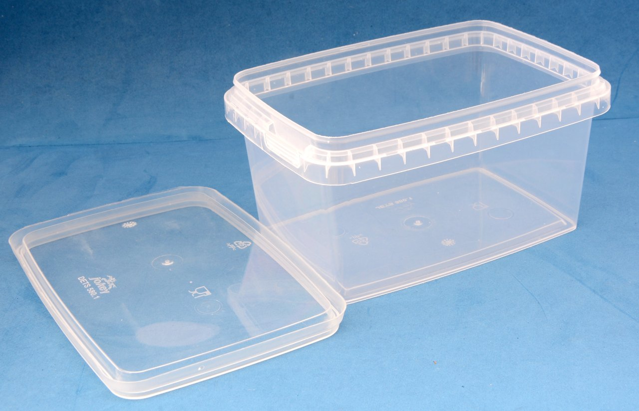 580ml Clear Rectangular Tamper Proof Tub with Lid - Jars & Things