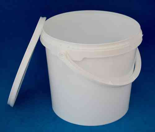 2700ml White Round Tamper Proof Tub with Handle and Lid