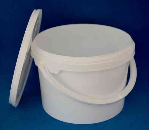 3000ml White Round Tamper Proof Tub with Handle and Lid