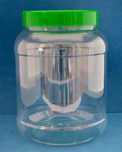 2000ml Clear Round Jar with 110mm Green Cap