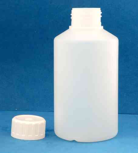 500ml Natural Plastic Wide Neck Bottle with 38mm Wadded Screw Cap