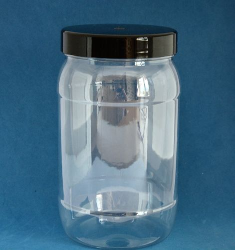 1750ml Clear Round Jars with Black Caps