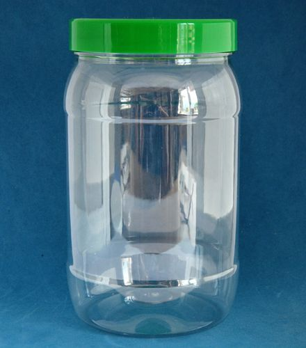 1750ml Clear Round Jars with Green Caps