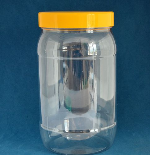 1750ml Clear Round Jars with Yellow Caps